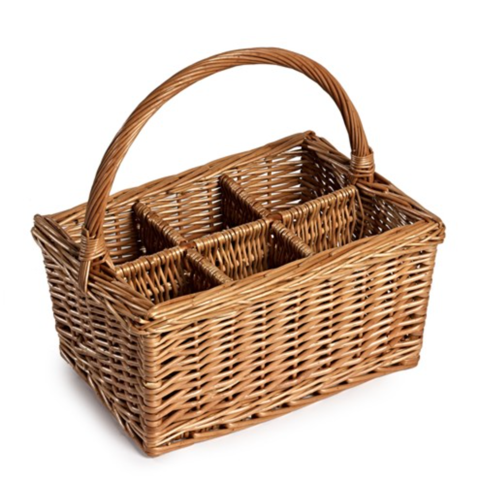 6 Bottle Wicker Basket Carrier