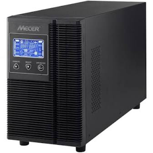 Mecer 2000VA / 1600W ON-LINE UPS (with AVR,Monitoring Software + Cable & Built-in Surge Protection) - Black