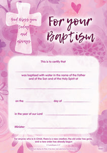 God Bless You - Baptism Pink CertificateGod Bless You - Baptism Pink Certificate