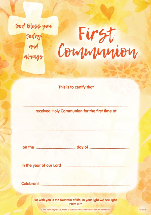 God Bless You - First Communion CertificateGod Bless You - First Communion Certificate