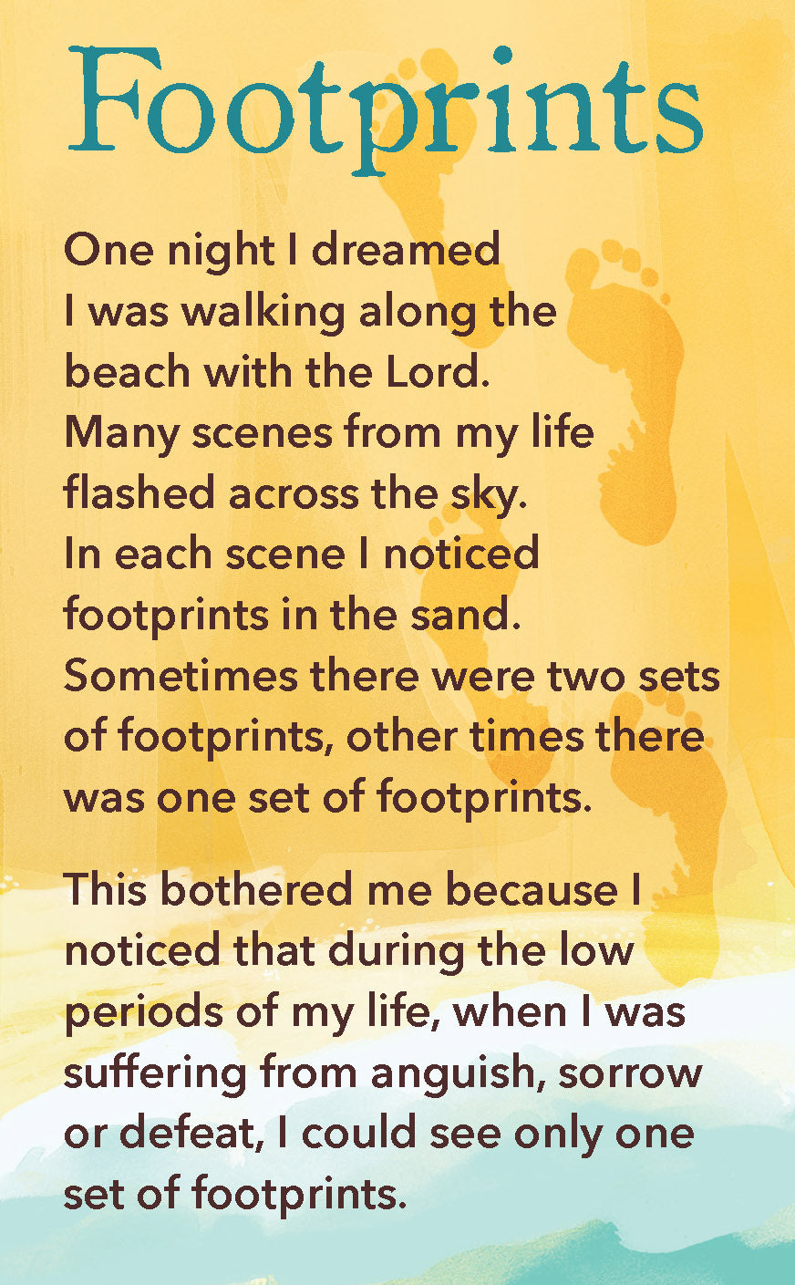 Prayer Card - FootprintsPrayer Card - Footprints