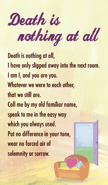 Death Is Nothing At All - Prayer Card (Double Sided)Death Is Nothing At All - Prayer Card (Double Sided)