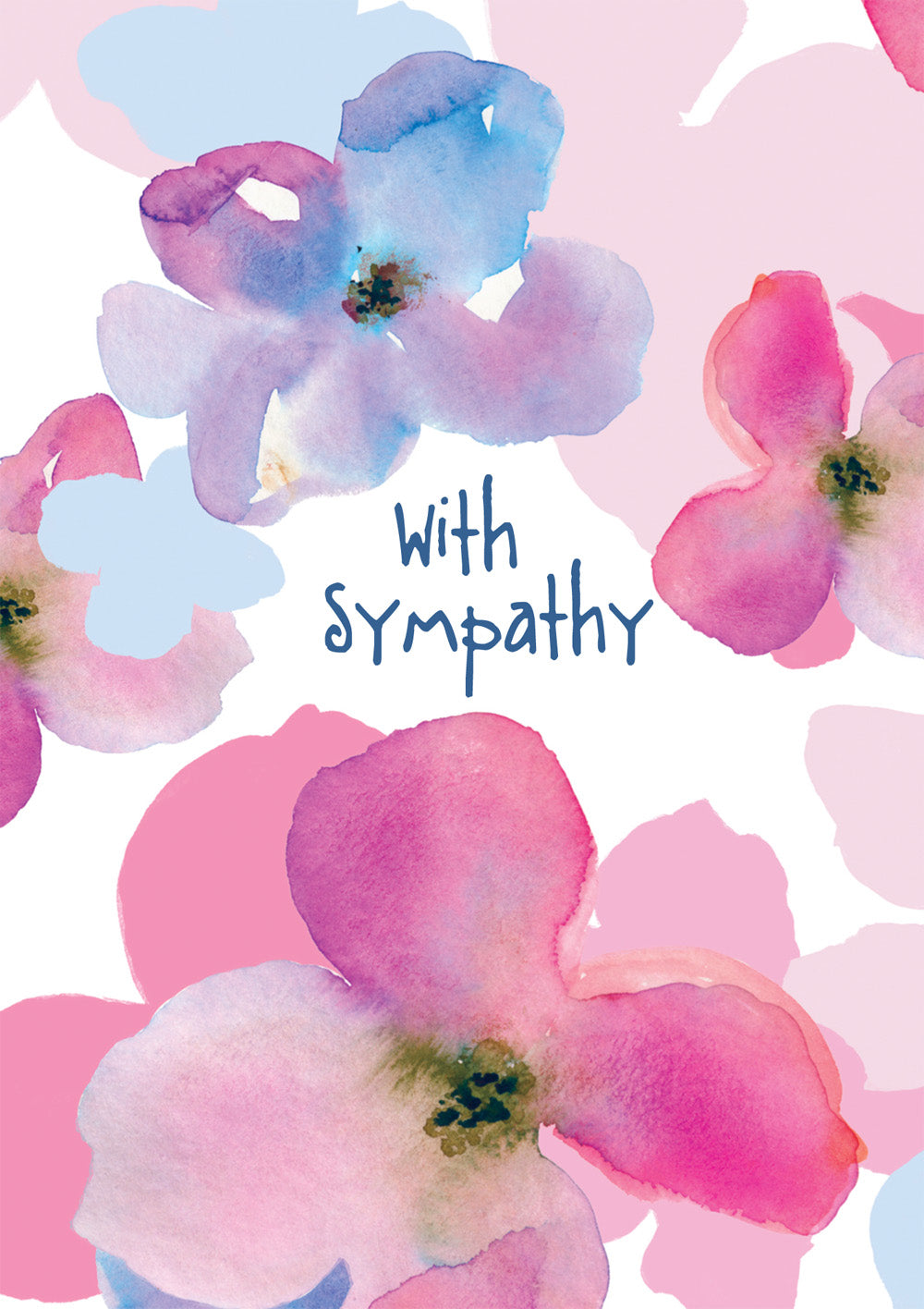 With Deepest Sympathy - Pink/Blue Flowers -  Standard Card  With Deepest Sympathy - Pink/Blue Flowers -  Standard Card