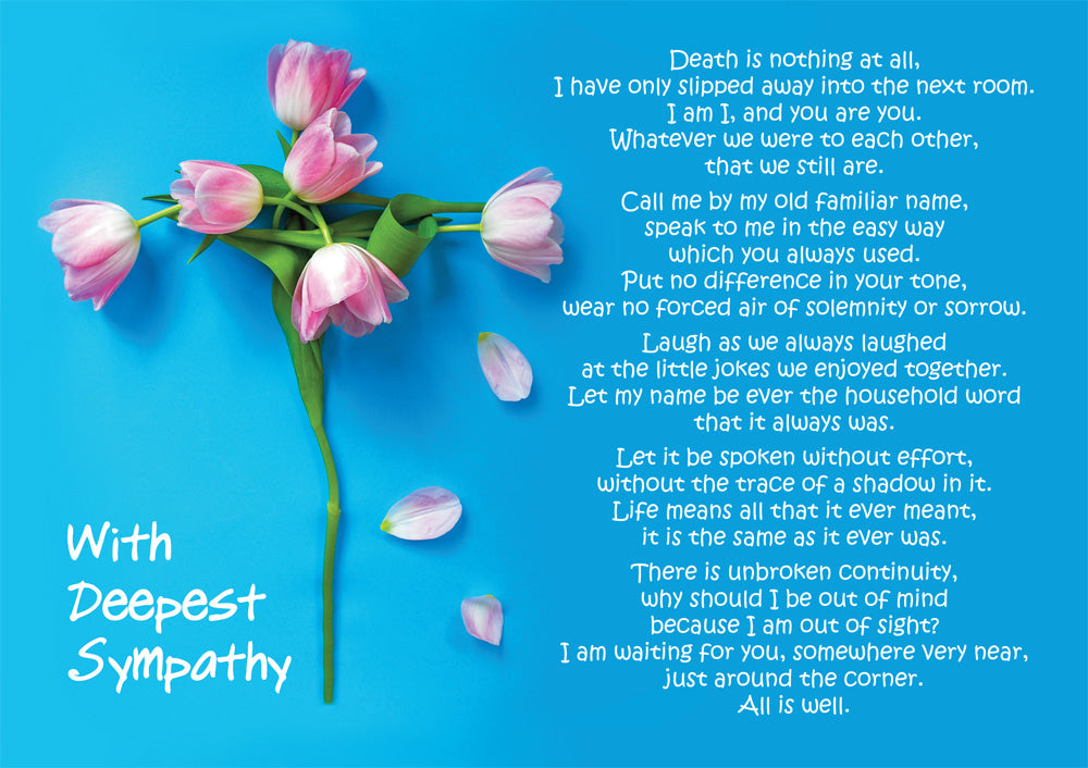 With Deepest Sympathy - Death Is Nothing At All -  Standard CardWith Deepest Sympathy - Death Is Nothing At All -  Standard Card