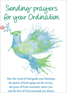 Sending Prayers For Your Ordination - Dove -  Standard CardSending Prayers For Your Ordination - Dove -  Standard Card