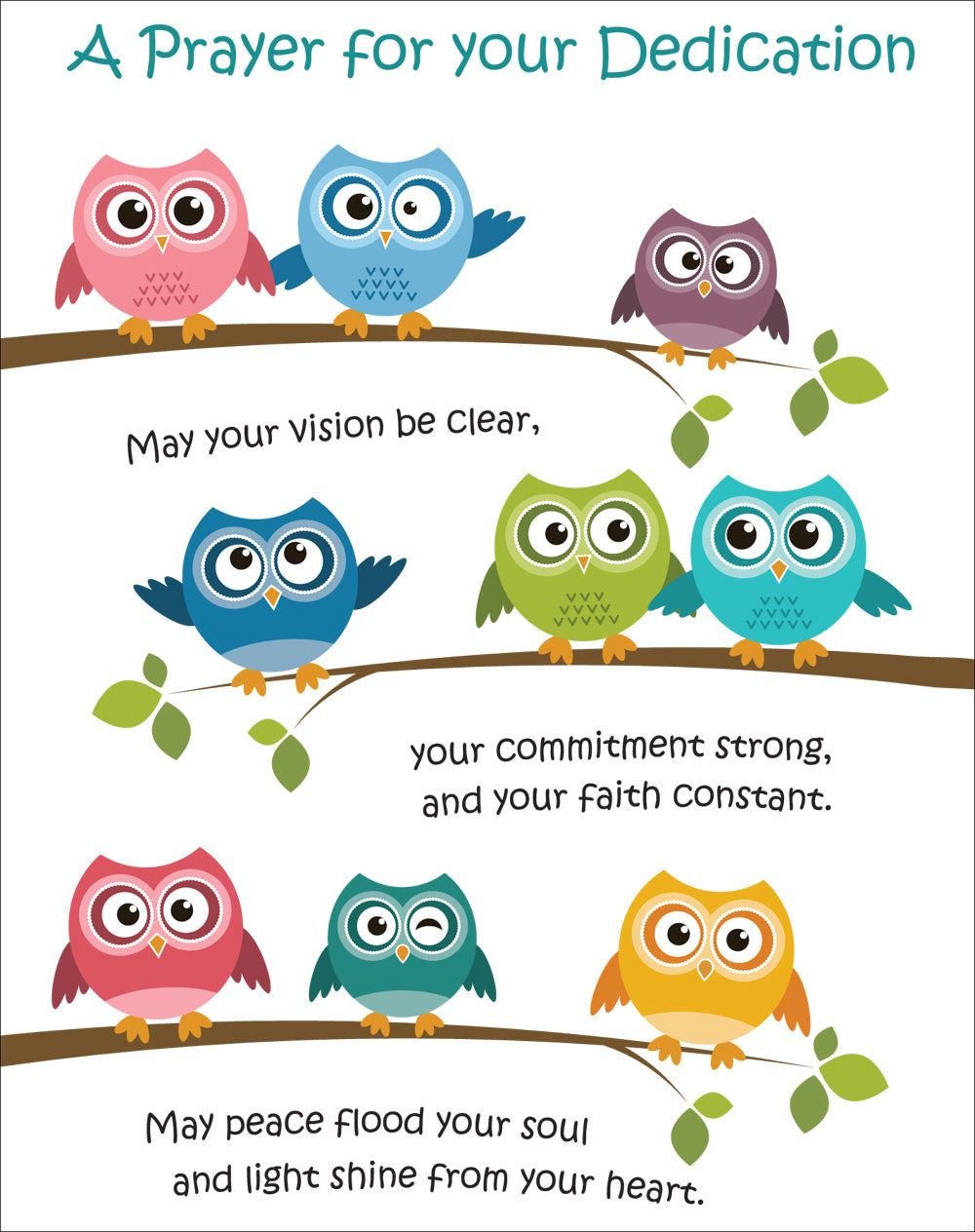 A Prayer For Your Dedication - Owls -  Standard CardA Prayer For Your Dedication - Owls -  Standard Card