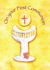 On Your First Communion - Chalice On Yellow Background -  Standard CardOn Your First Communion - Chalice On Yellow Background -  Standard Card