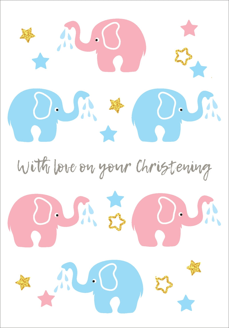 With Love Christening (Elephants) - Std Card  Gloss (6 Pack)With Love Christening (Elephants) - Std Card  Gloss (6 Pack)