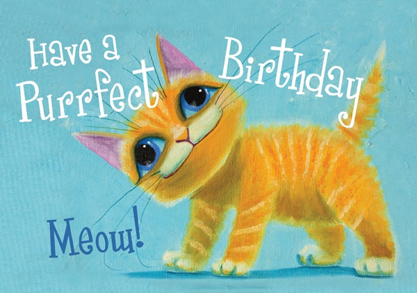 Purrfect Birthday - Cat Std Card  Gloss (6 Pack)Purrfect Birthday - Cat Std Card  Gloss (6 Pack)