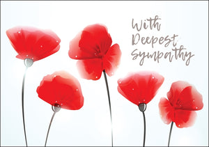 Deepest Sympathy - Poppies Std Card Gloss (6 Pack)Deepest Sympathy - Poppies Std Card Gloss (6 Pack)