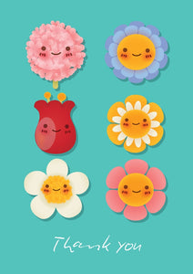 Thank You - Flower Faces Std Card Gloss (6 Pack)Thank You - Flower Faces Std Card Gloss (6 Pack)