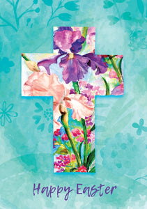Happy Easter - Cross Flowers Std Card Textured (6 Pack)Happy Easter - Cross Flowers Std Card Textured (6 Pack)