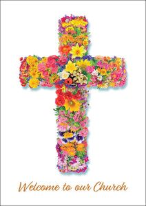 Welcome To Our Church - Flower Cross Std Card Textured (6 Pack)Welcome To Our Church - Flower Cross Std Card Textured (6 Pack)