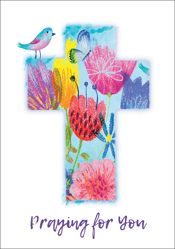 Praying For You - Flower Cross With Bird Std Card Textured (6 Pack)Praying For You - Flower Cross With Bird Std Card Textured (6 Pack)