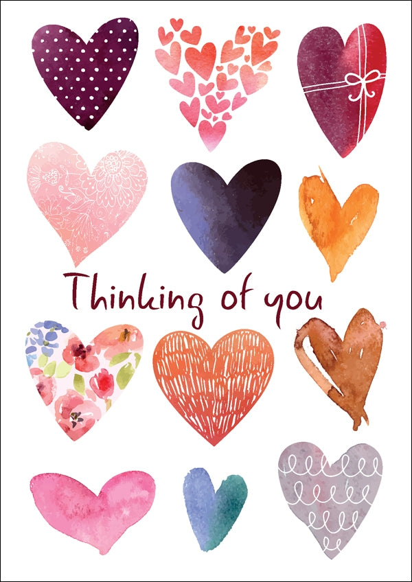 Thinking Of You - Hearts Std Card Textured (6 Pack)Thinking Of You - Hearts Std Card Textured (6 Pack)