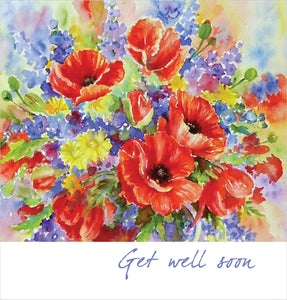 Get Well Soon- Square Card TexturedGet Well Soon- Square Card Textured