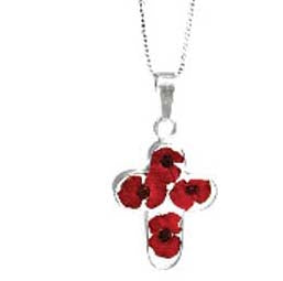 "Rememberance Silver Poppy Cross Pendant With 16"" Sterling Silver Chain - (Pp07)Rememberance Silver Poppy Cross Pendant With 16"" Sterling Silver Chain - (Pp07)"