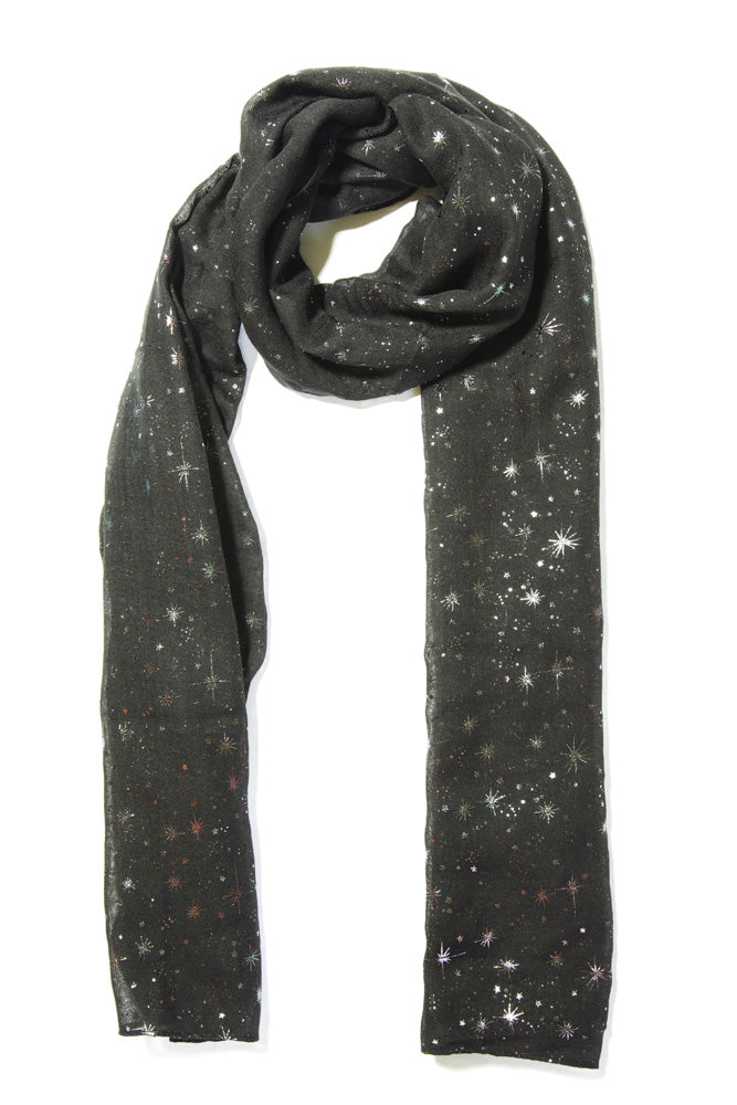 Black Scarf With  Silver Star Print  (93027) -  Approx 70 X 180 CmBlack Scarf With  Silver Star Print  (93027) -  Approx 70 X 180 Cm