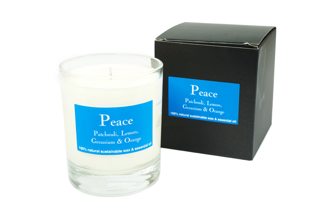 Peace Scented Glass Votive Candle 30Cl (Boxed)  Patchouli, Oran &Gernaium Scent.Peace Scented Glass Votive Candle 30Cl (Boxed)  Patchouli, Oran &Gernaium Scent.