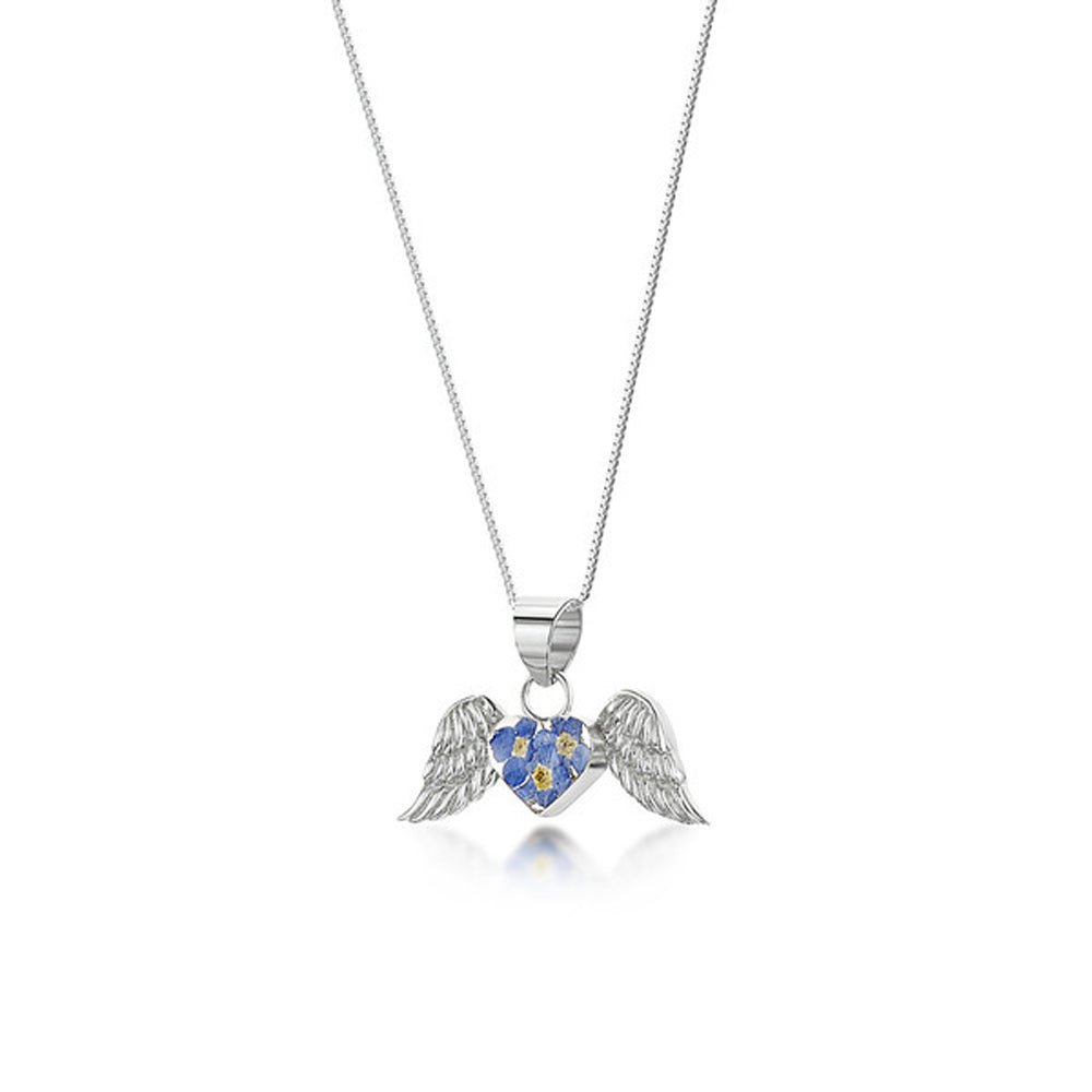 "Forget Me Not Angel Wings Pendant & Adjustustable 18"" Ster.  Silver Chain (Fpaw)Forget Me Not Angel Wings Pendant & Adjustustable 18"" Ster.  Silver Chain (Fpaw)"
