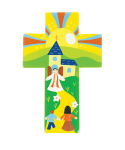 Hand-Painted Cross:  Welcome Home  (14Cm) Ref: 802Hand-Painted Cross:  Welcome Home  (14Cm) Ref: 802