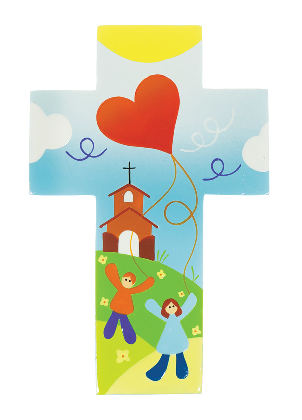 Hand-Painted Cross:  Kite Of Love  (14Cm) Ref: 809Hand-Painted Cross:  Kite Of Love  (14Cm) Ref: 809