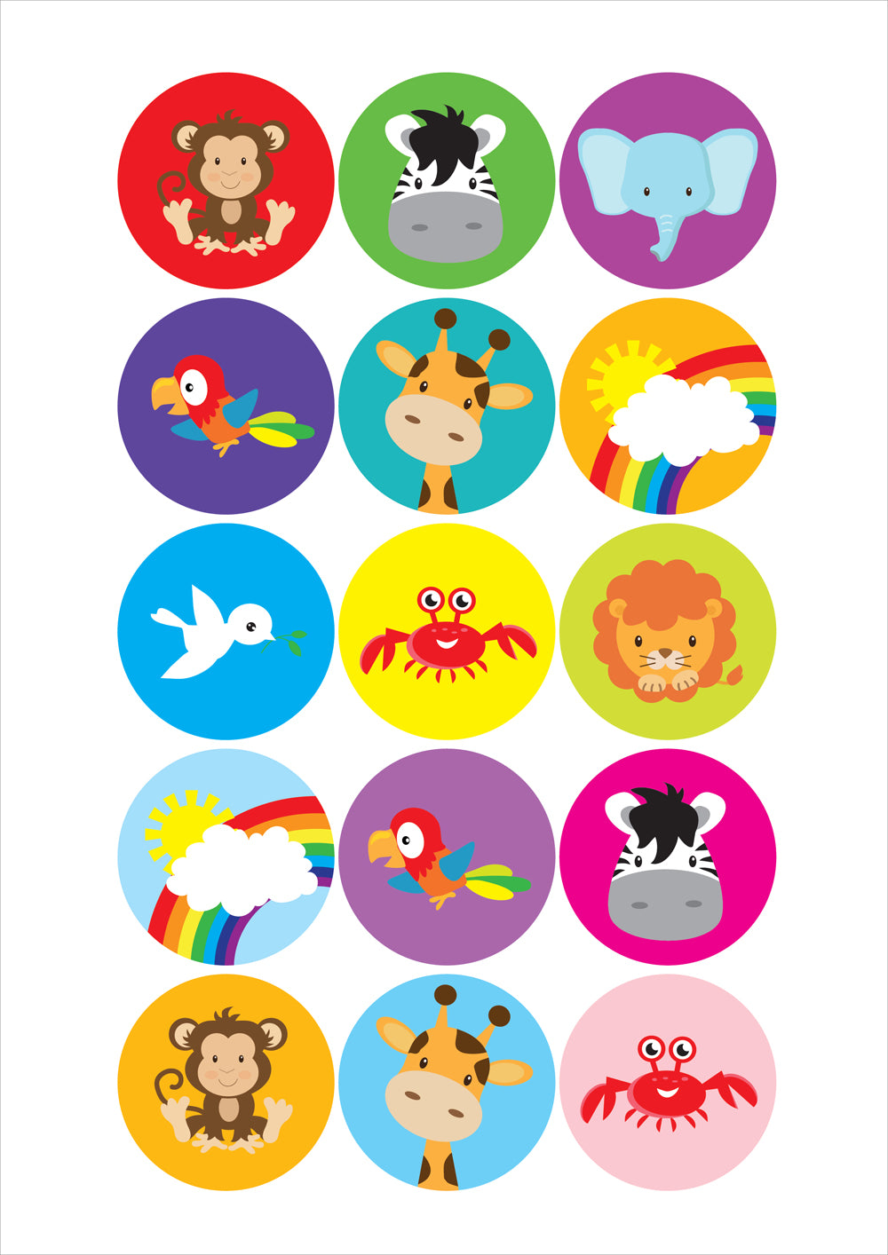 Noah Ark Animals Sticker SheetNoah Ark Animals Sticker Sheet