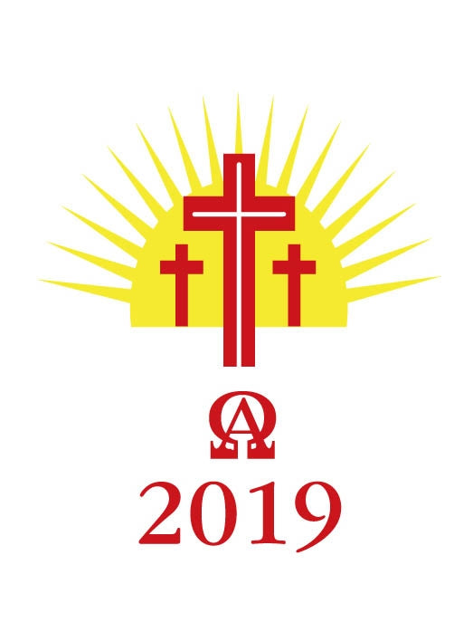 Candle Transfer -  Three Red And Gold Crosses With Sun 2019Candle Transfer -  Three Red And Gold Crosses With Sun 2019