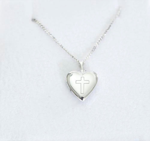 Emily Sterling Silver Heart Locket With Engraved Cross Design Necklace  Emily Sterling Silver Heart Locket With Engraved Cross Design Necklace