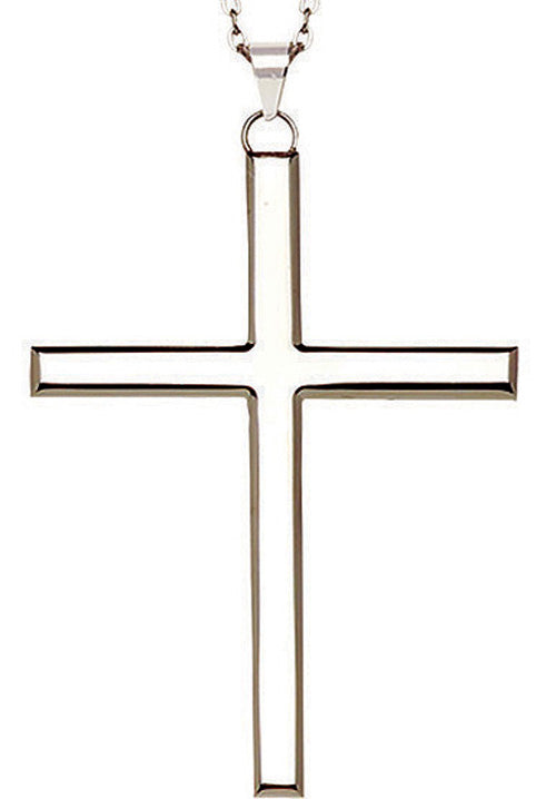 "4"" Stainless Steel Pectoral Latin Cross (J-24)  - On 30"" Silver Chain4"" Stainless Steel Pectoral Latin Cross (J-24)  - On 30"" Silver Chain"