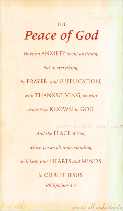 Prayer Cards-The Peace Of GodPrayer Cards-The Peace Of God