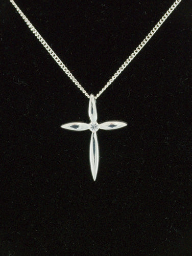 Silver Cross Pendant With Cubic Zirconia Centre (R6451/C)Silver Cross Pendant With Cubic Zirconia Centre (R6451/C)