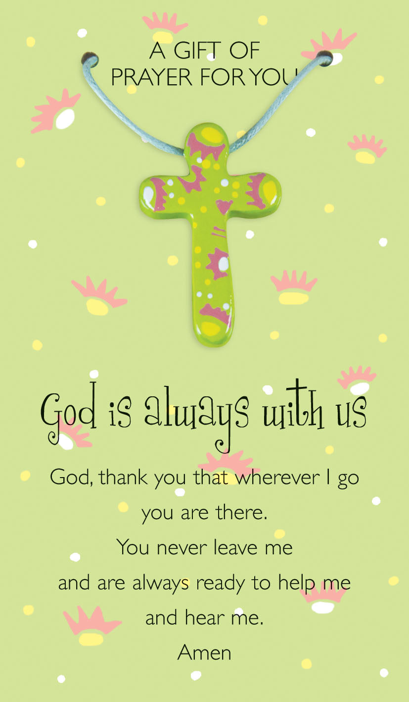 God's Always With Us  Prayer Card & PendantGod's Always With Us  Prayer Card & Pendant