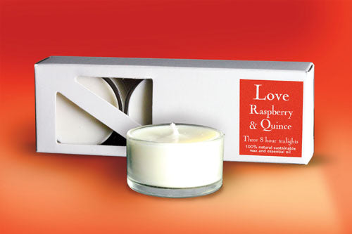 Love - 3 Fragrant Tealight Candles (Raspberry & Quince)Love - 3 Fragrant Tealight Candles (Raspberry & Quince)