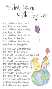 Prayer Card - Children Learn What They LivePrayer Card - Children Learn What They Live
