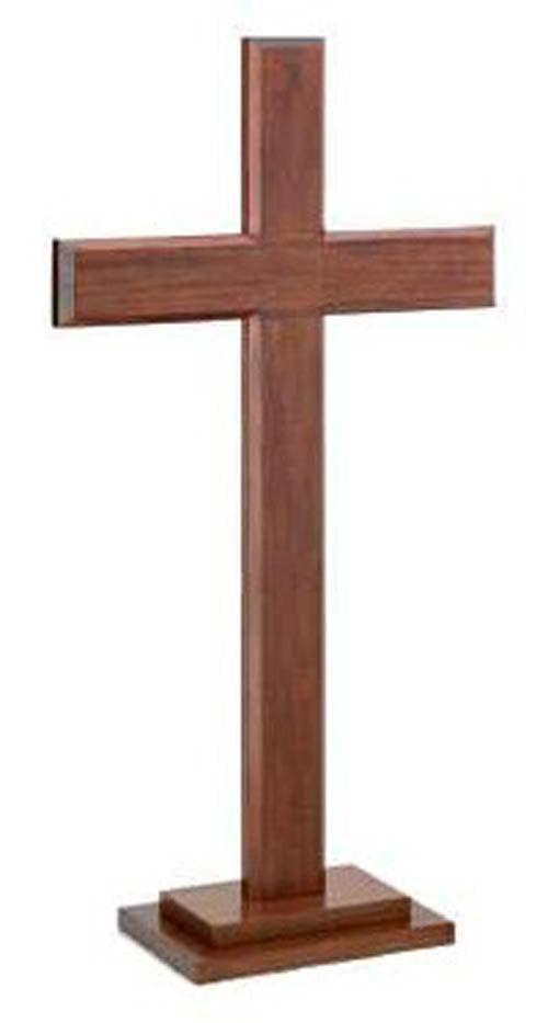 "Mahogany Standing Cross On Base - 60Cms High (23.6"") HighMahogany Standing Cross On Base - 60Cms High (23.6"") High"