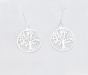 Tree Of Life Drop Earrings (Sterling Silver) - 15Mm Dia.Tree Of Life Drop Earrings (Sterling Silver) - 15Mm Dia.