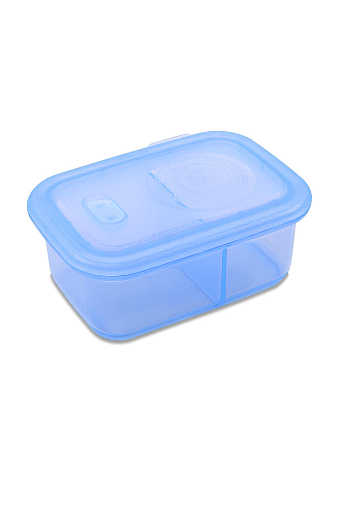 Minimal Silicone Storage Container with Divider, 700ml, Blue