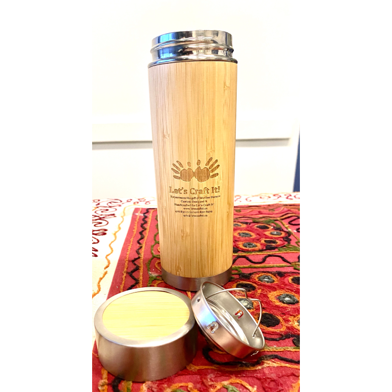 Bamboo Flask with Strainer 500ml Hot & Cold