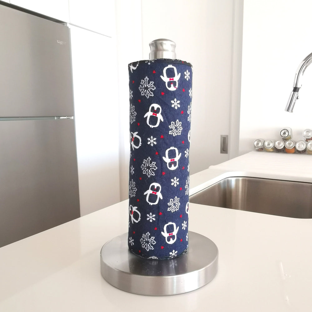 Load image into Gallery viewer, Unpaper Towels - Blue Christmas Pattern