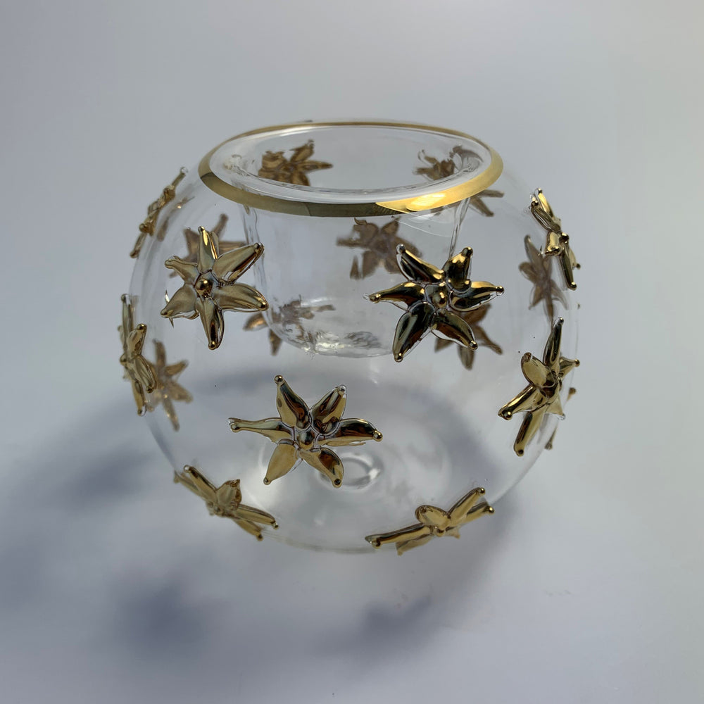 Blown Glass Candle Holder - Gold Sea Stars