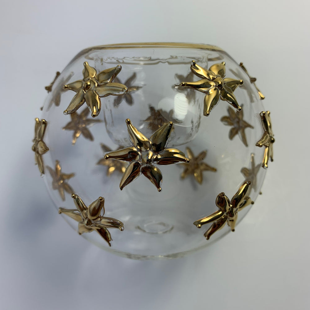 Load image into Gallery viewer, Blown Glass Candle Holder - Gold Sea Stars
