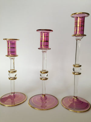 Load image into Gallery viewer, Long Stem Blown Glass Candle Holder - Pink