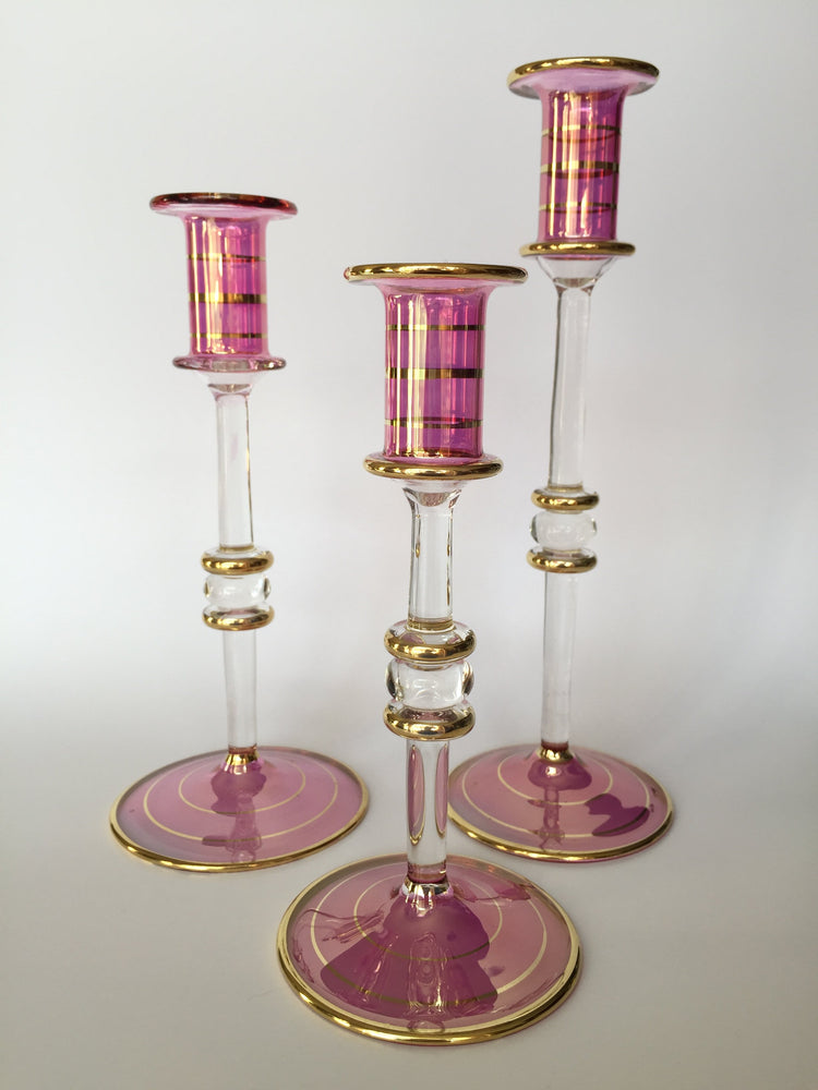 Long Stem Blown Glass Candle Holder - Pink