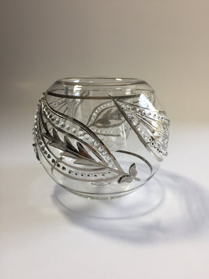 Load image into Gallery viewer, Blown Glass Candle Holder - Silver Kashmir