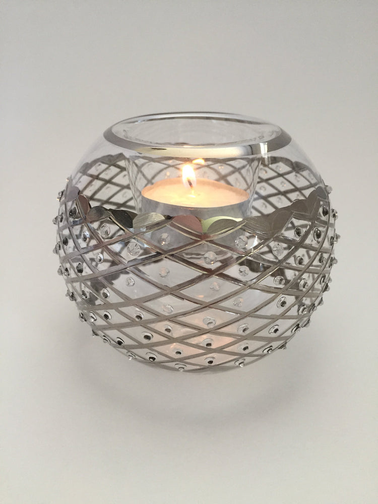 Blown Glass Candle Holder - Silver Diamonds