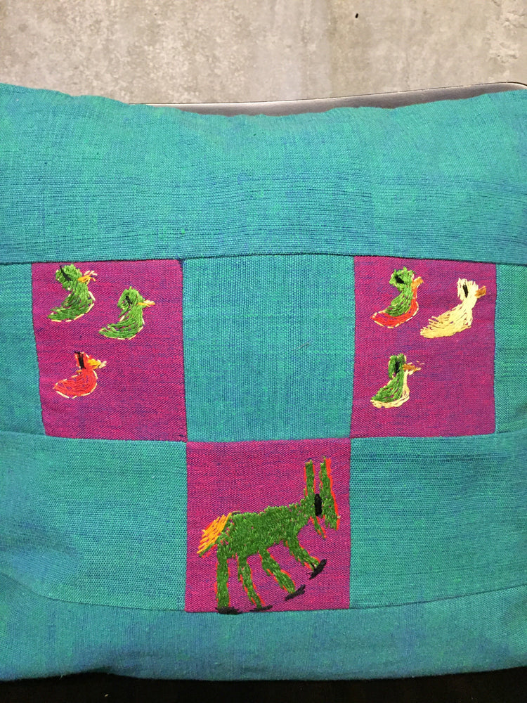 Load image into Gallery viewer, Handwoven Egyptian Cotton Cushion Cover - Embroidered Donkey & Ducks
