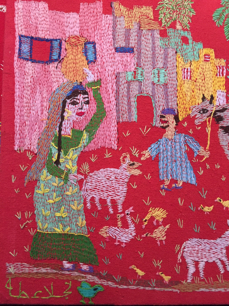 Load image into Gallery viewer, Hand Embroidered Tapestry - The Countryside by Naglaa Taha