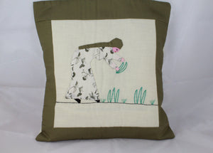 Load image into Gallery viewer, Handmade Patchwork Cushion Cover - Woman in the Field