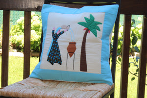 Load image into Gallery viewer, Handmade Patchwork Cushion Cover - Woman Pouring Water